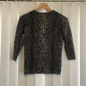 Talbots Petite 100% Cashmere Cheetah Print Sweater